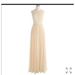 J.Crew 100% silk Megan floor-length cream dress